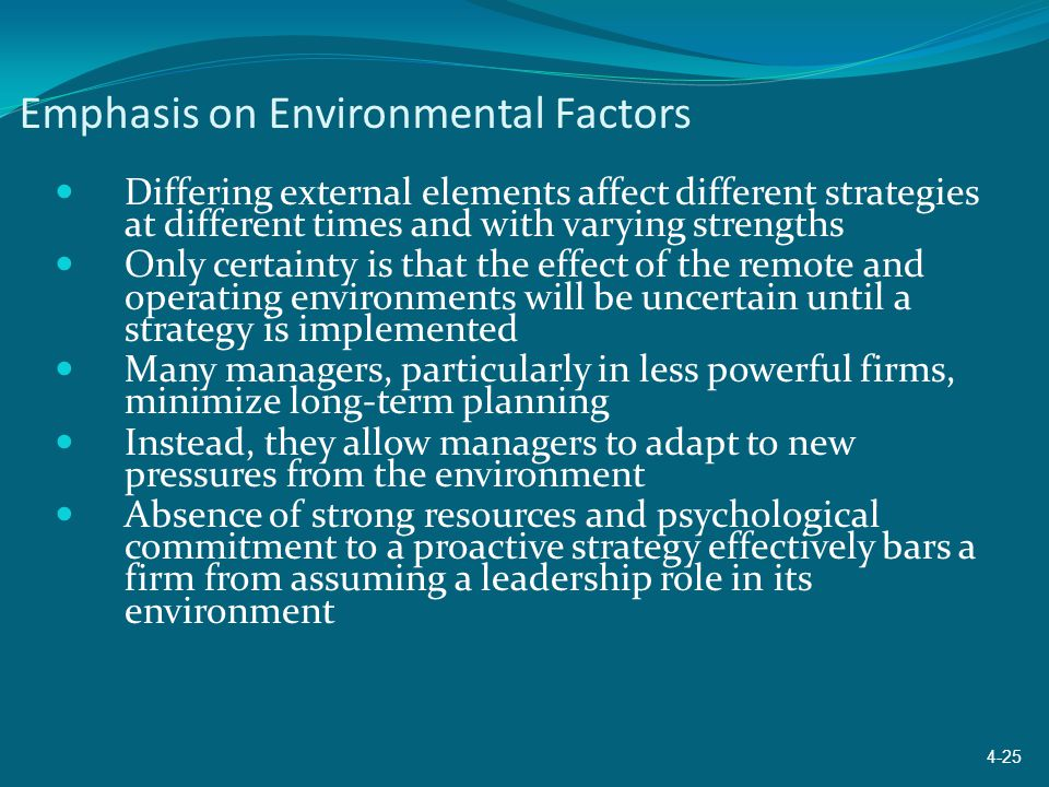 Emphasis on Environmental Factors Differing external elements affect different strategies at different times and with varying strengths Only certainty