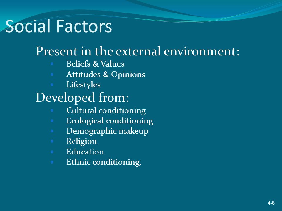 Social Factors Present in the external environment: Beliefs & Values Attitudes & Opinions Lifestyles Developed from: Cultural conditioning Ecological