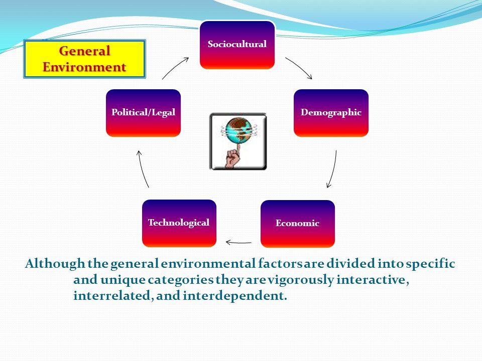 The Five Factors of the General Environment (1) Sociocultural (2) Demographic (3) Economic (4) Technological (5) Political/Legal
