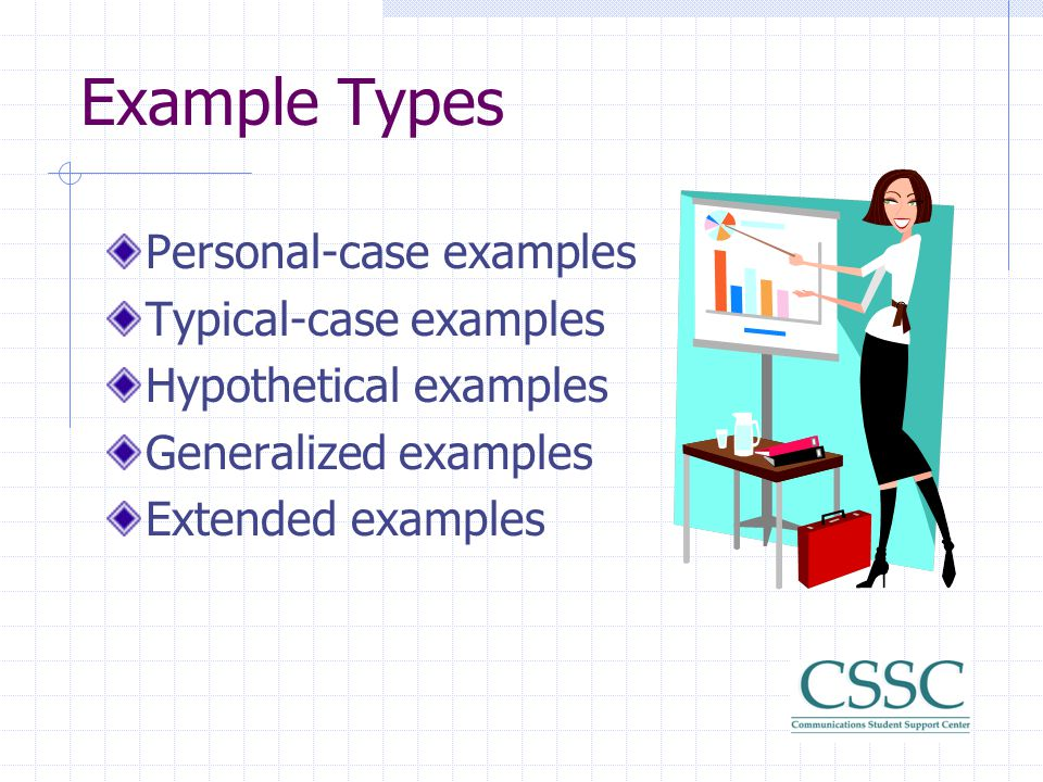 Forms of Examples Specific names (people, places, products) Anecdotes Personal observations Expert opinions (from outside sources, interviews) Facts S