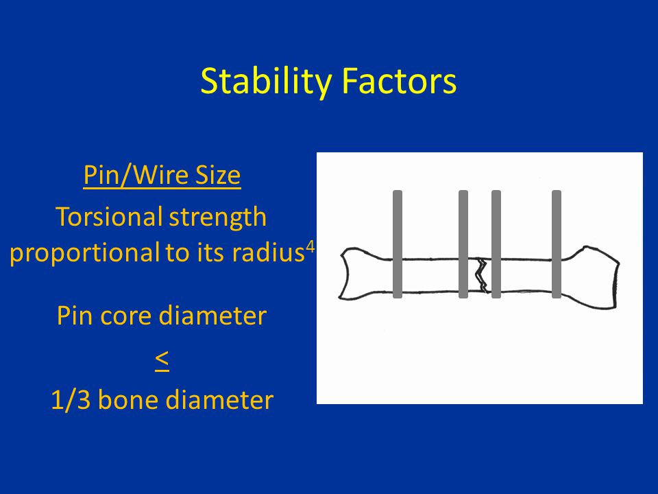 Stability Factors Pin/Wire Size Torsional strength proportional to its radius 4 Pin core diameter < 1/3 bone diameter