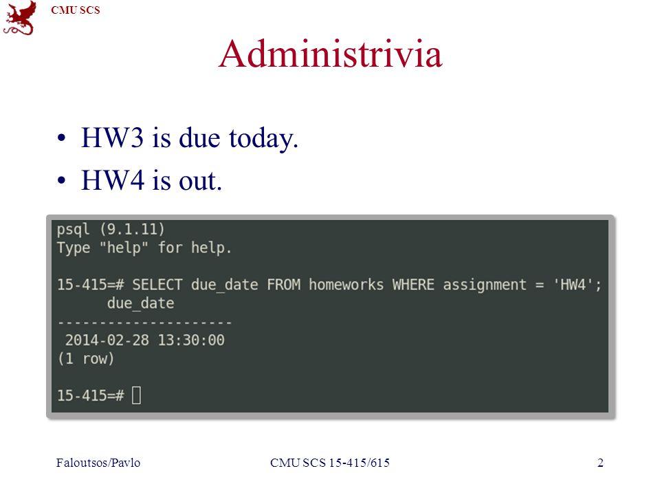 CMU SCS CMU SCS 15-415/6153 Last Class Static Hashing Extendible Hashing Linear Hashing Hashing vs.