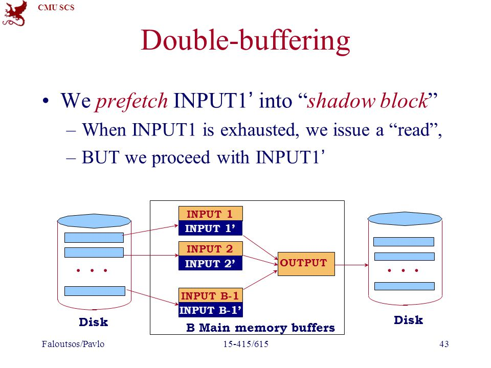 "CMU SCS Double-buffering We prefetch INPUT1' into ""shadow block"" –When INPUT1 is exhausted, we issue a ""read"", –BUT we proceed with INPUT1' Faloutsos/"