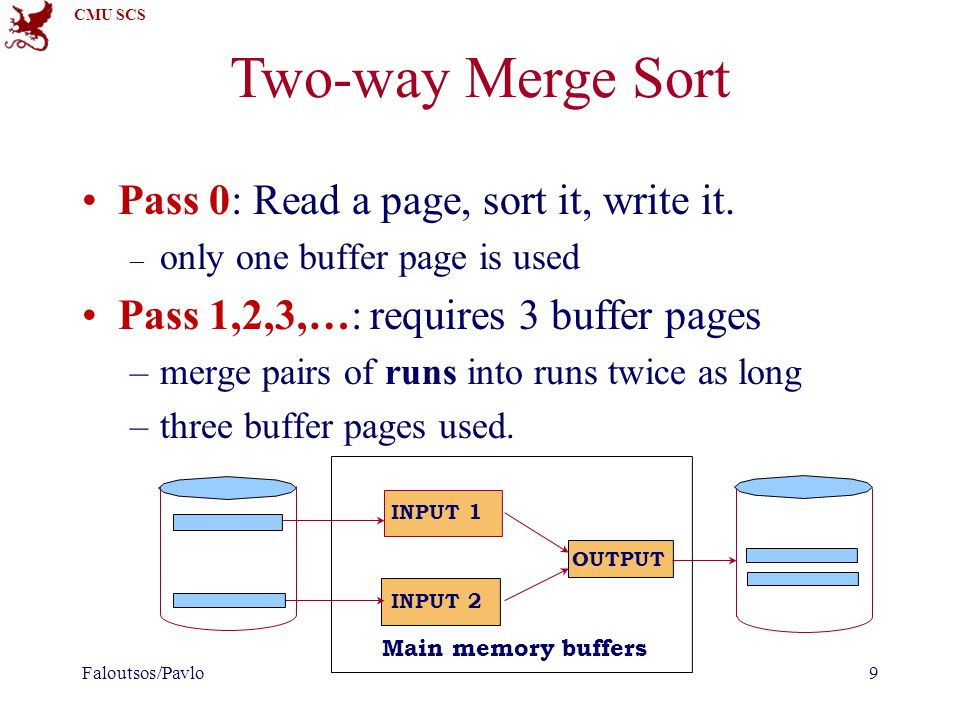 CMU SCS Summary External sorting is important External merge sort minimizes disk I/O: – Pass 0: Produces sorted runs of size B (# buffer pages).