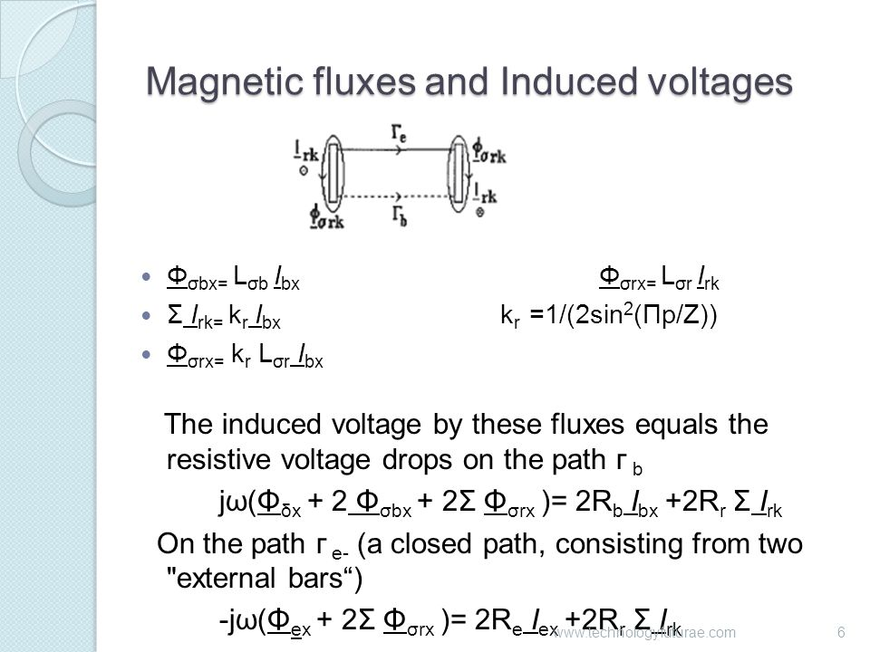 Magnetic fluxes and Induced voltages Φ σbx= L σb I bx Φ σrx= L σr I rk Σ I rk= k r I bx k r =1/(2sin 2 (Πp/Z)) Φ σrx= k r L σr I bx The induced voltage by these fluxes equals the resistive voltage drops on the path г b jω(Φ δx + 2 Φ σbx + 2Σ Φ σrx )= 2R b I bx +2R r Σ I rk On the path г e- (a closed path, consisting from two external bars ) -jω(Φ ex + 2Σ Φ σrx )= 2R e I ex +2R r Σ I rk 6www.technologyfuturae.com
