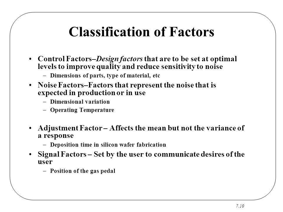 7.10 Classification of Factors Control Factors–Design factors that are to be set at optimal levels to improve quality and reduce sensitivity to noise
