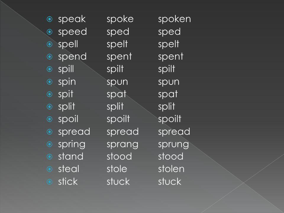  speak  speed  spell  spend  spill  spin  spit  split  spoil  spread  spring  stand  steal  stick spoken sped spelt spent spilt spun spa