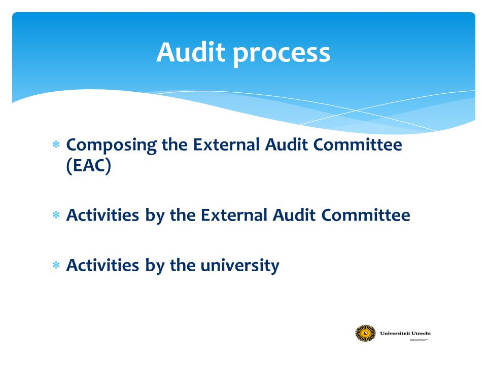 Audit process  Composing the External Audit Committee (EAC)  Activities by the External Audit Committee  Activities by the university