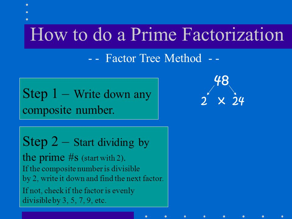 How to do a Prime Factorization 48 Step 1 – Write down any composite number. - - Factor Tree Method - - Step 2 – Start dividing by the prime #s (start