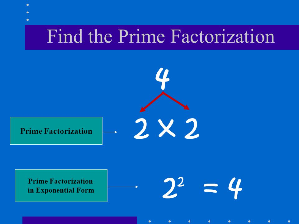 Find the Prime Factorization 4 2 x 2 2 2 = 4 Prime Factorization in Exponential Form