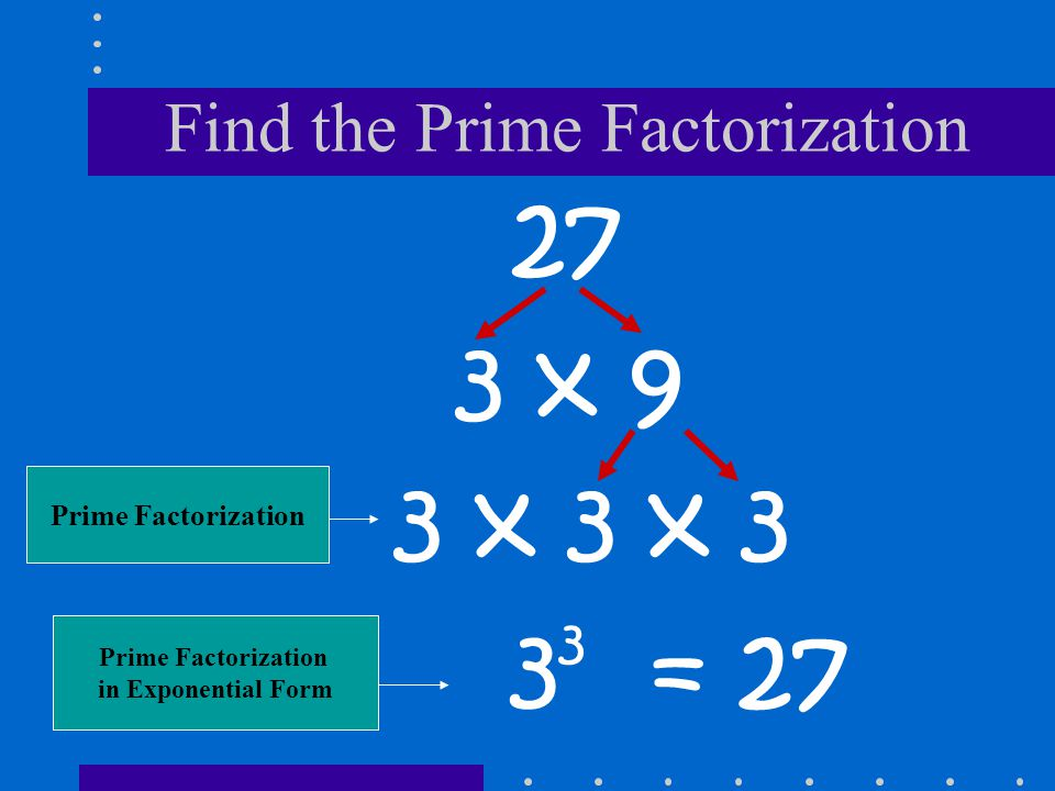 Find the Prime Factorization 27 3 x 9 3 3 = 27 3 x 3 x 3 Prime Factorization in Exponential Form