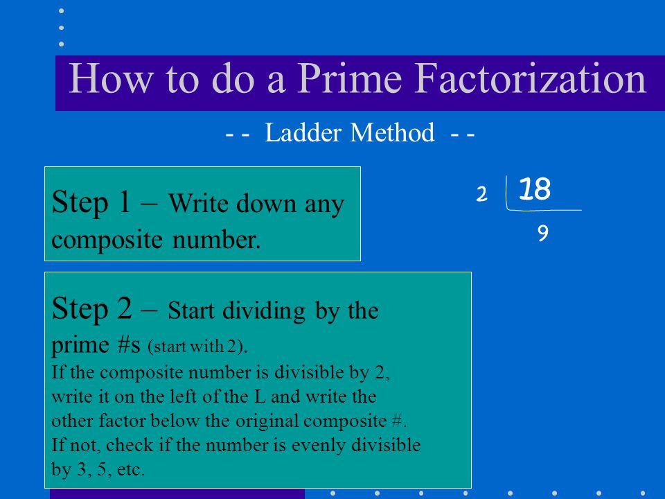 How to do a Prime Factorization 18 Step 1 – Write down any composite number. - - Ladder Method - - Step 2 – Start dividing by the prime #s (start with