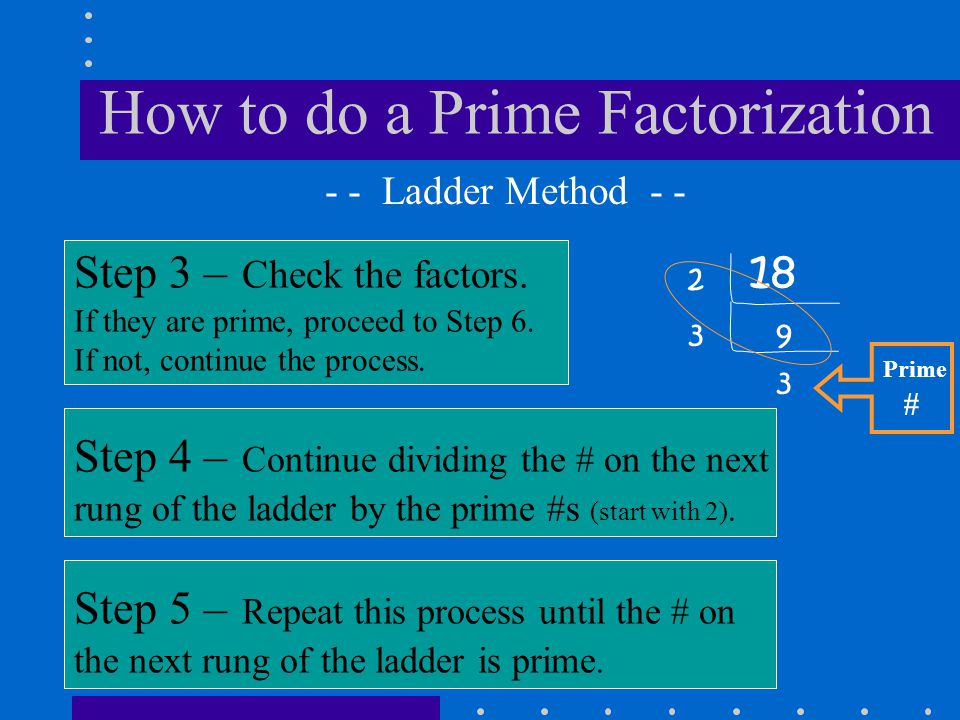 How to do a Prime Factorization 18 Step 3 – Check the factors. If they are prime, proceed to Step 6. If not, continue the process. - - Ladder Method -