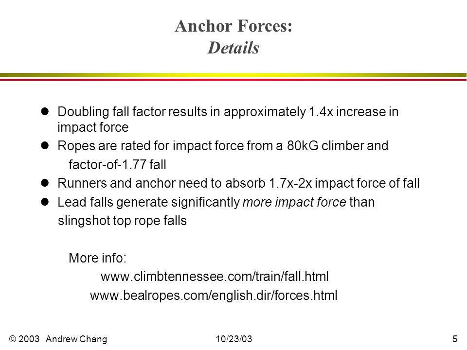 © 2003 Andrew Chang10/23/035 lDoubling fall factor results in approximately 1.4x increase in impact force lRopes are rated for impact force from a 80kG climber and factor-of-1.77 fall lRunners and anchor need to absorb 1.7x-2x impact force of fall lLead falls generate significantly more impact force than slingshot top rope falls More info: www.climbtennessee.com/train/fall.html www.bealropes.com/english.dir/forces.html Anchor Forces: Details