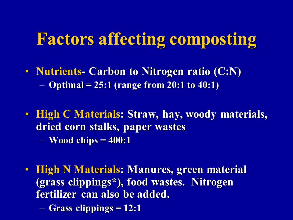 Factors affecting composting Nutrients- Carbon to Nitrogen ratio (C:N)Nutrients- Carbon to Nitrogen ratio (C:N) –Optimal = 25:1 (range from 20:1 to 40