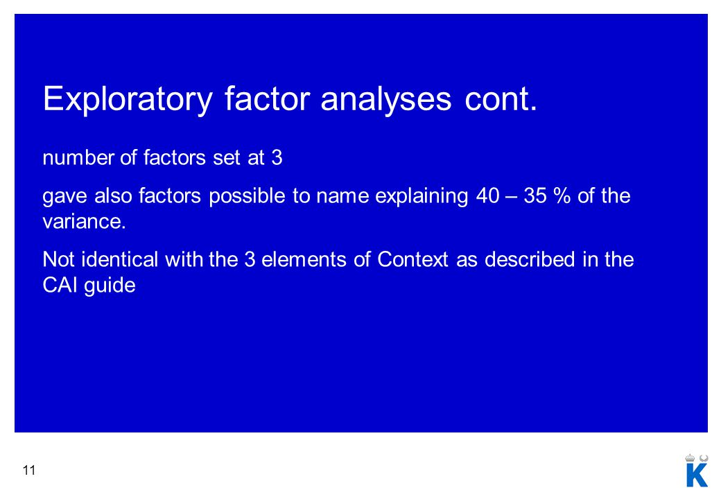 11 Exploratory factor analyses cont.