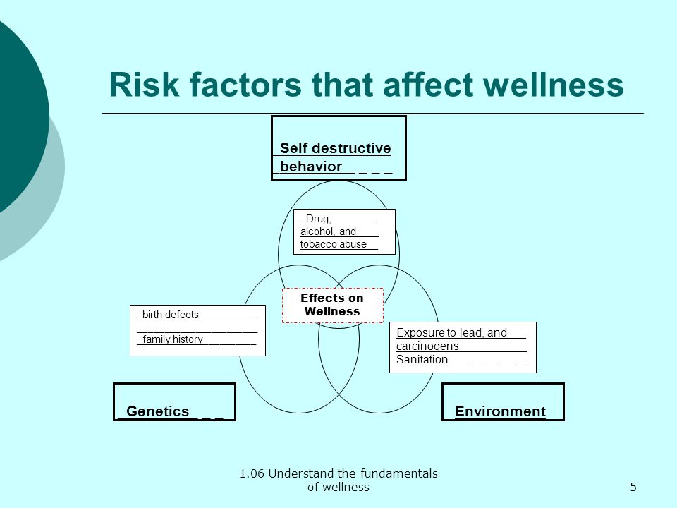 1.06 Understand the fundamentals of wellness Risk factors that affect wellness _Self destructive _behavior _ _ _ _ Environment_Genetics_ _ _ Effects o