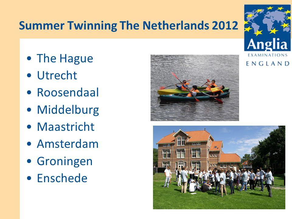 Support for English Summer Twinning The Netherlands 2012 The Hague Utrecht Roosendaal Middelburg Maastricht Amsterdam Groningen Enschede
