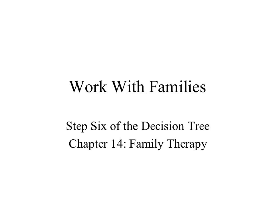 Work With Families Step Six of the Decision Tree Chapter 14: Family Therapy
