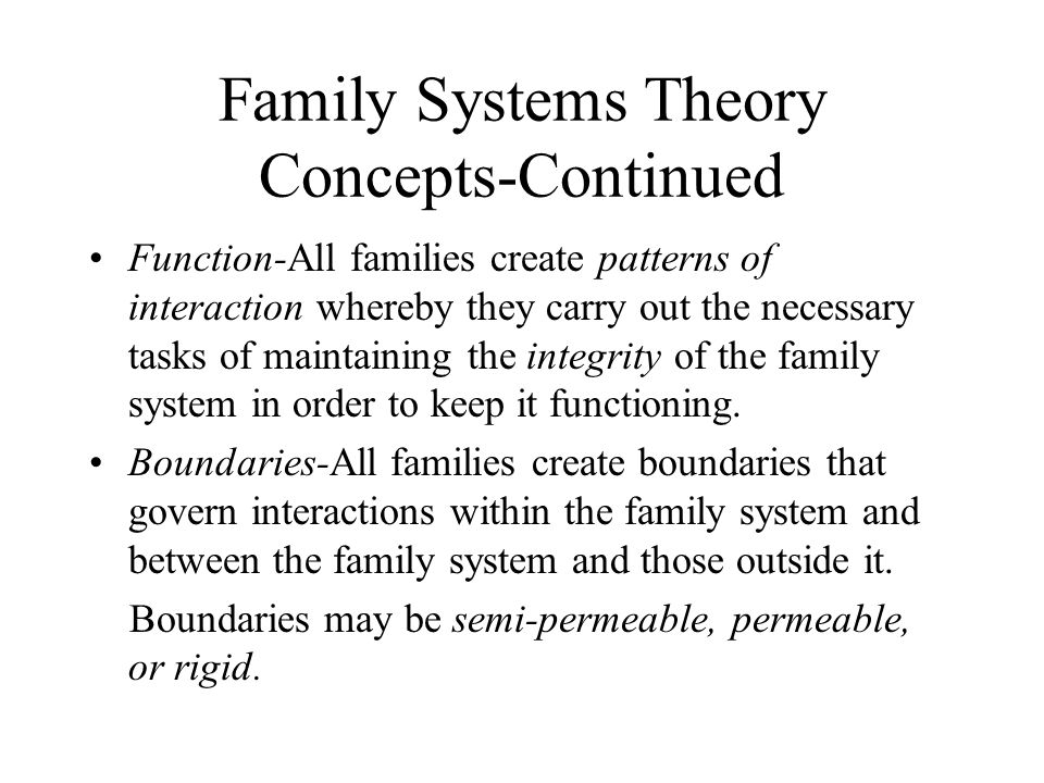 Family Systems Theory Concepts-Continued Function-All families create patterns of interaction whereby they carry out the necessary tasks of maintaining the integrity of the family system in order to keep it functioning.