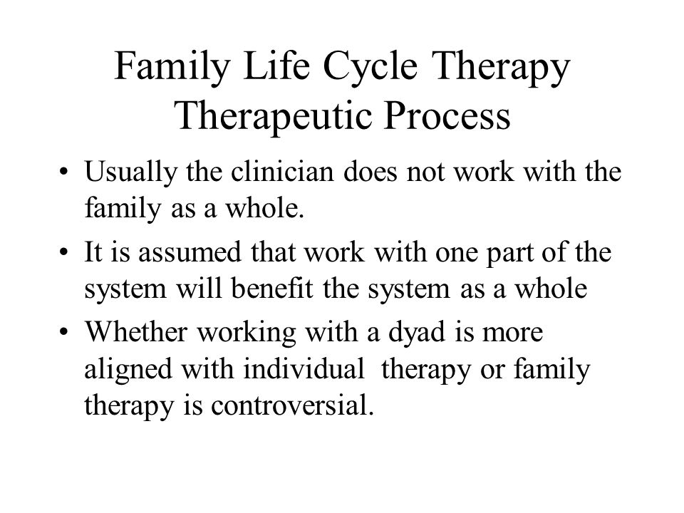 Family Life Cycle Therapy Therapeutic Process Usually the clinician does not work with the family as a whole. It is assumed that work with one part of