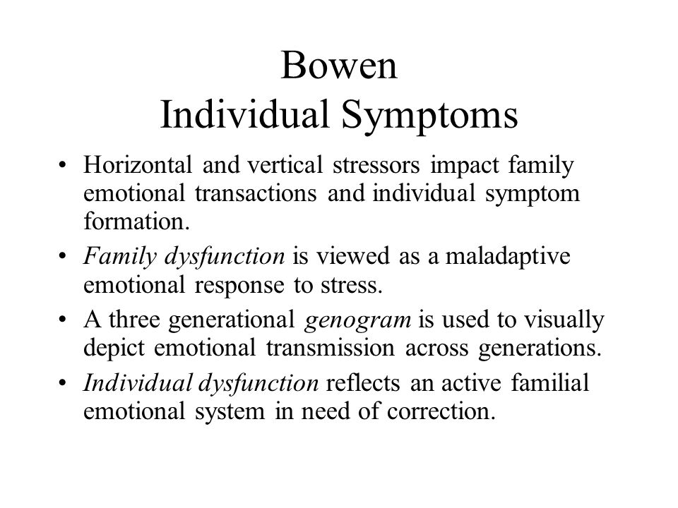 Bowen Individual Symptoms Horizontal and vertical stressors impact family emotional transactions and individual symptom formation. Family dysfunction