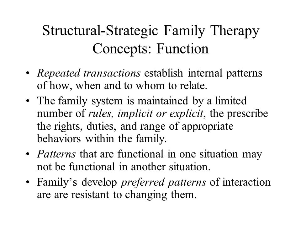 Structural-Strategic Family Therapy Concepts: Function Repeated transactions establish internal patterns of how, when and to whom to relate. The famil