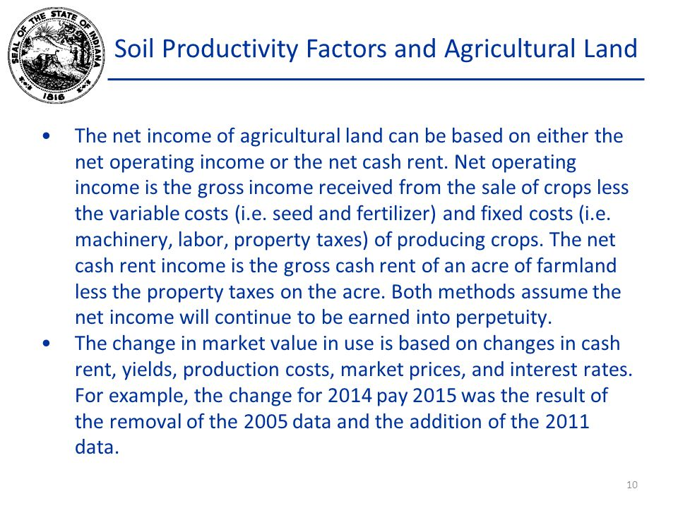 Soil Productivity Factors and Agricultural Land The net income of agricultural land can be based on either the net operating income or the net cash rent.