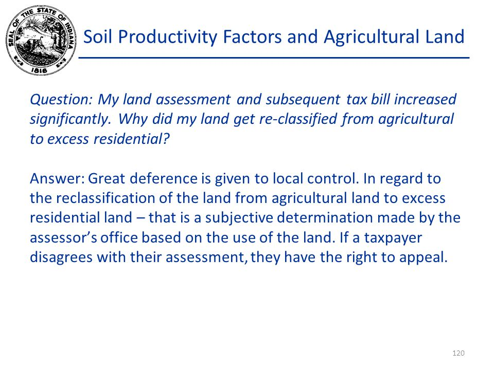 Soil Productivity Factors and Agricultural Land Question: My land assessment and subsequent tax bill increased significantly.