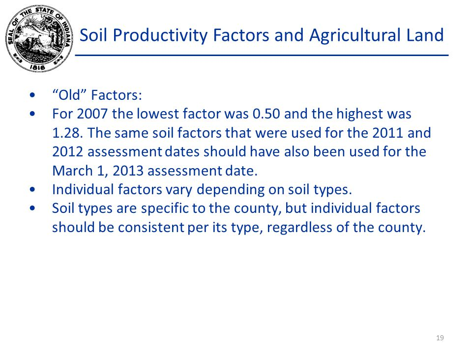Soil Productivity Factors and Agricultural Land Old Factors: For 2007 the lowest factor was 0.50 and the highest was 1.28.