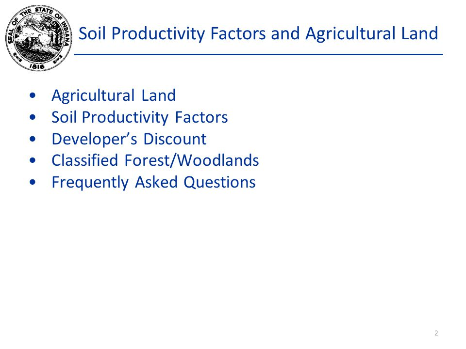 Soil Productivity Factors and Agricultural Land A soil productivity ranking factor was generated from the corn yield prediction of the Dideriksen Model.