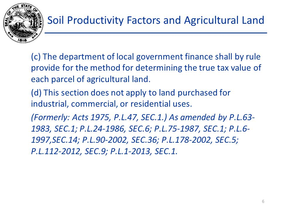 Soil Productivity Factors and Agricultural Land REINSPECTIONS: At least once every seven years, the district forester or a representative will review the classified property (at no cost).
