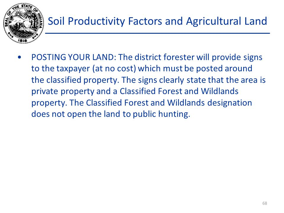 Soil Productivity Factors and Agricultural Land POSTING YOUR LAND: The district forester will provide signs to the taxpayer (at no cost) which must be posted around the classified property.