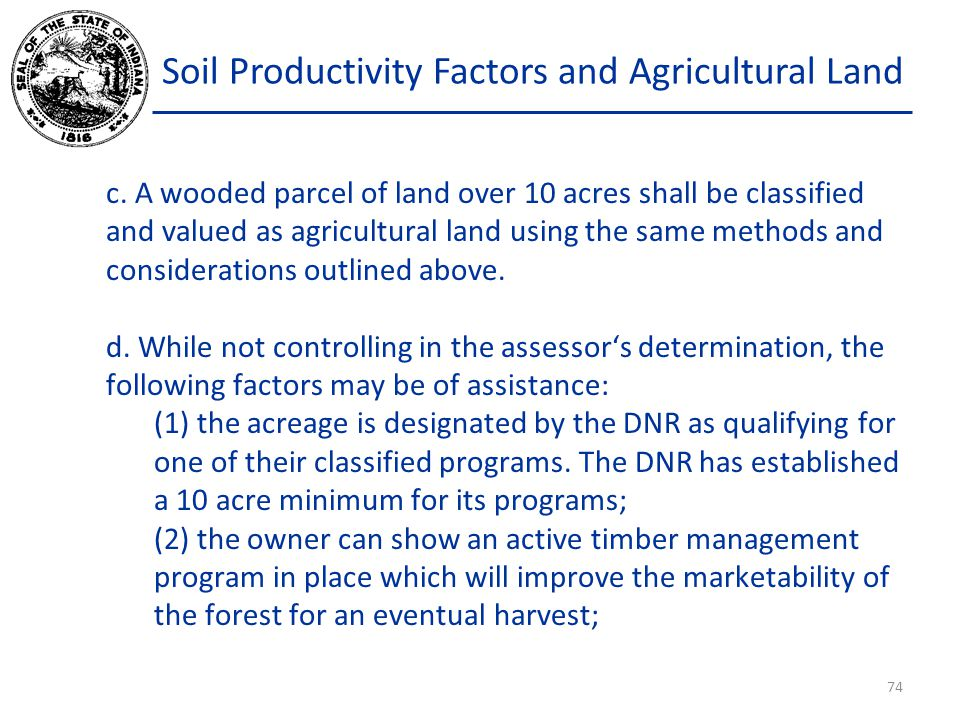 Soil Productivity Factors and Agricultural Land c.