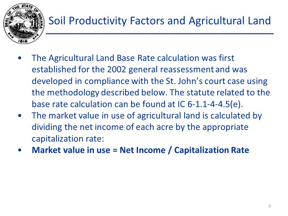 Soil Productivity Factors and Agricultural Land Stout owns 9.12 acres of land in West Baden Springs, Indiana.