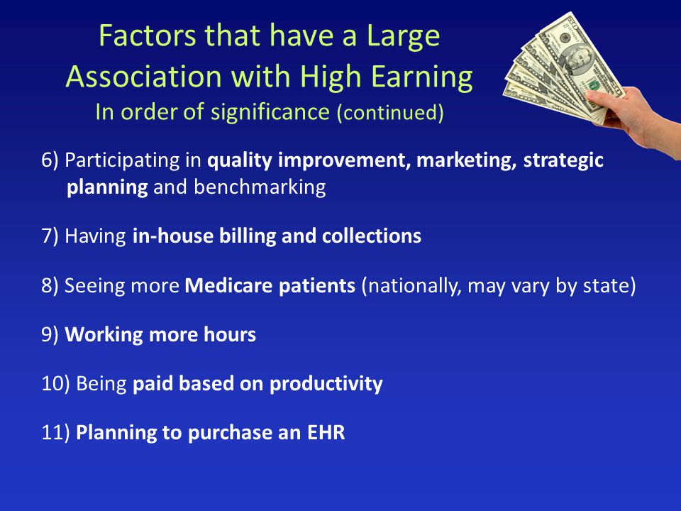 Factors that have a Large Association with High Earning In order of significance (continued) 6) Participating in quality improvement, marketing, strat