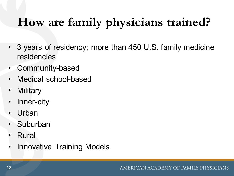 How are family physicians trained. 3 years of residency; more than 450 U.S.