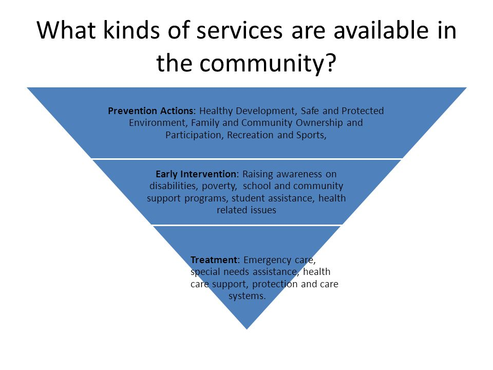 What kinds of services are available in the community? Prevention Actions: Healthy Development, Safe and Protected Environment, Family and Community O