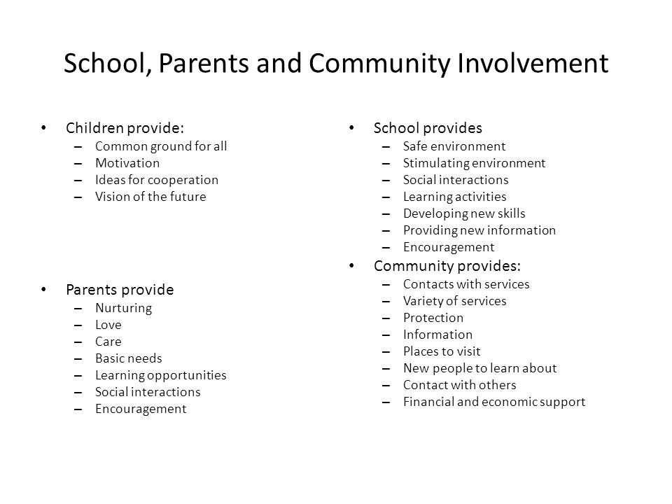 School, Parents and Community Involvement Children provide: – Common ground for all – Motivation – Ideas for cooperation – Vision of the future Parent