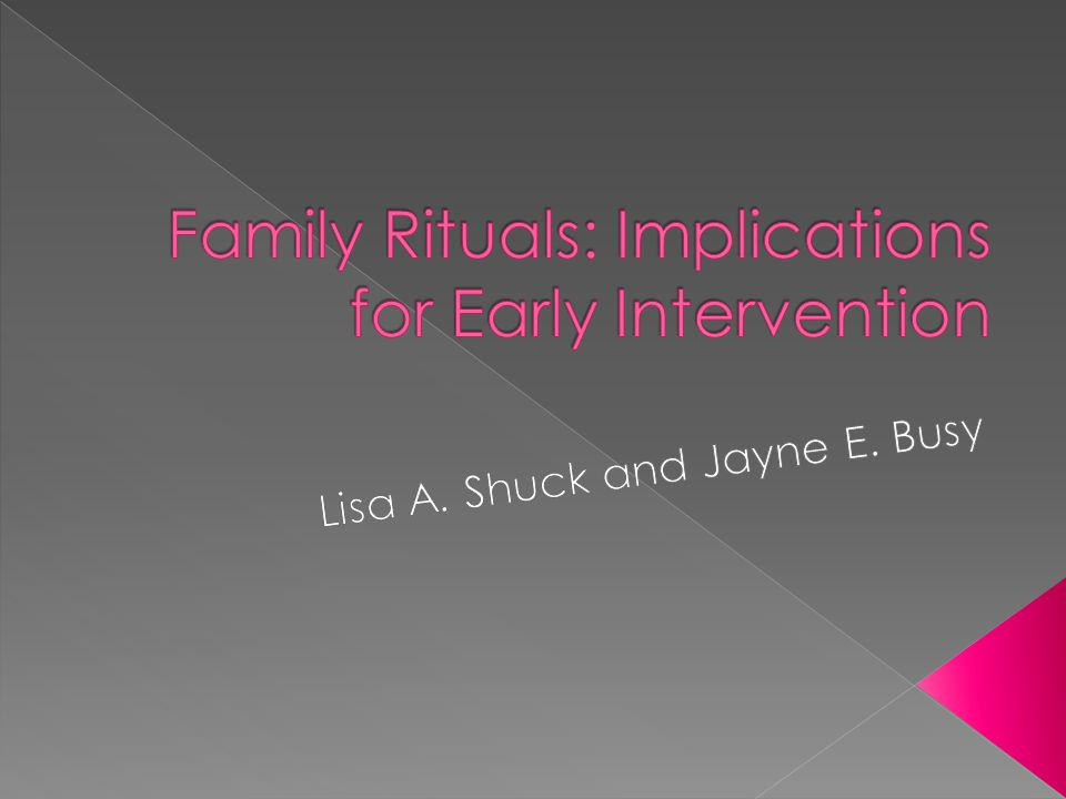  Families play a key role in children's developmental outcomes › Specific intervention plans  Garbarino (1990) used the ecological model to show that all environments have an impact on child development › Family rituals are especially important