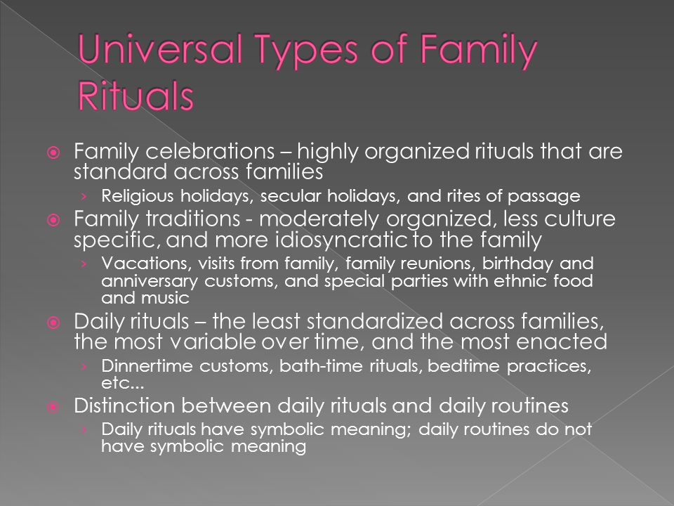  Early interventionists should incorporate and work with family rituals when developing interventions for children with development disabilities.