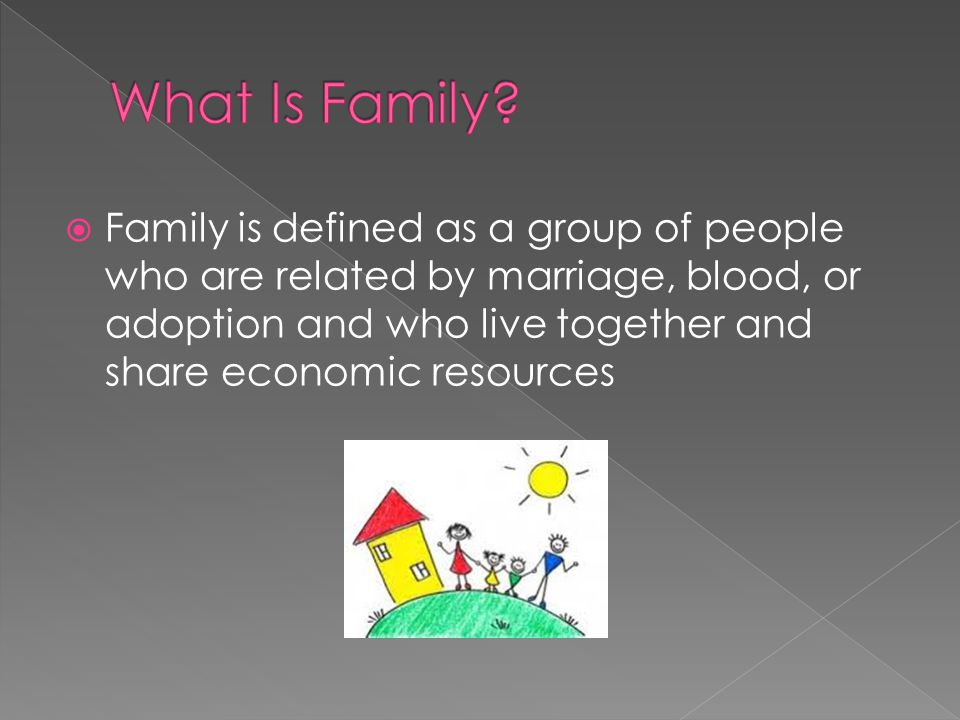  Family is defined as a group of people who are related by marriage, blood, or adoption and who live together and share economic resources
