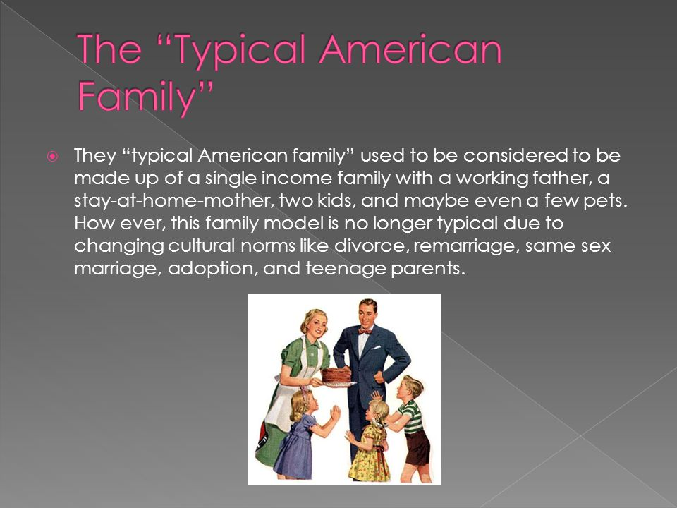 """ They """"typical American family"""" used to be considered to be made up of a single income family with a working father, a stay-at-home-mother, two kids,"""