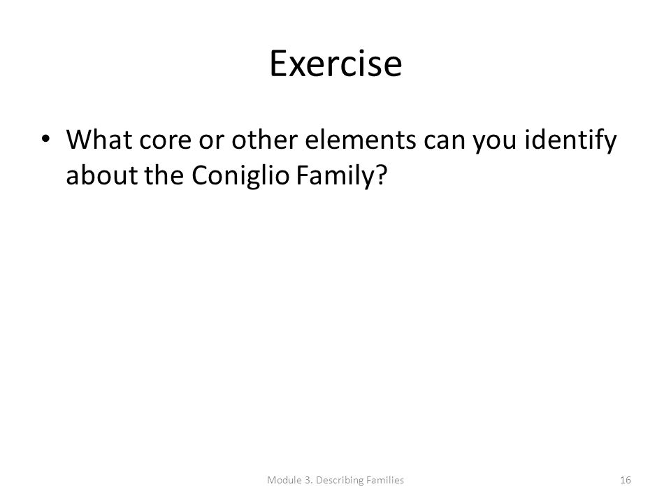 Exercise What core or other elements can you identify about the Coniglio Family? Module 3. Describing Families16