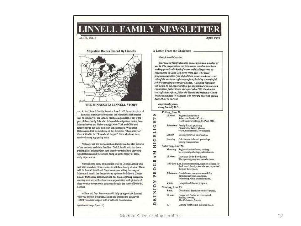 Module 3. Describing Families27