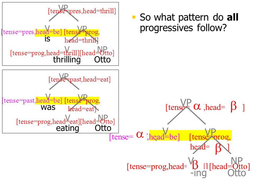 V been [head=Otto][tense=prog,head=thrill] [tense=prog, head=thrill] [tense=perf,head=thrill] [tense=perf,head=be]  So what pattern do all progressives follow.