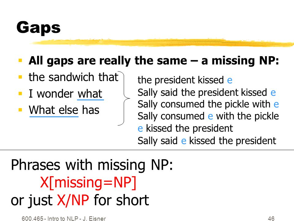 600.465 - Intro to NLP - J. Eisner46 Gaps  All gaps are really the same – a missing NP:  the sandwich that  I wonder what  What else has the presi
