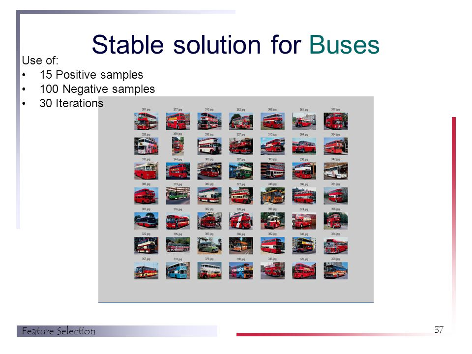 Feature Selection 37 Stable solution for Buses Use of: 15 Positive samples 100 Negative samples 30 Iterations