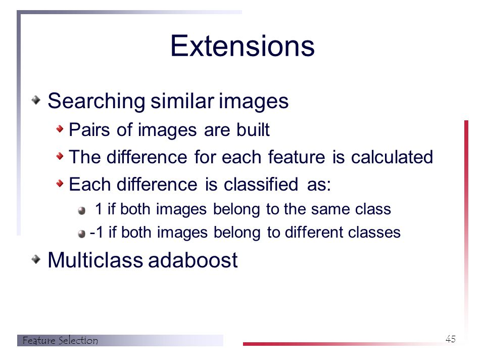 Feature Selection 45 Extensions Searching similar images Pairs of images are built The difference for each feature is calculated Each difference is classified as: 1 if both images belong to the same class -1 if both images belong to different classes Multiclass adaboost