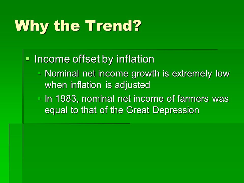 Why the Trend?  Income offset by inflation  Nominal net income growth is extremely low when inflation is adjusted  In 1983, nominal net income of f